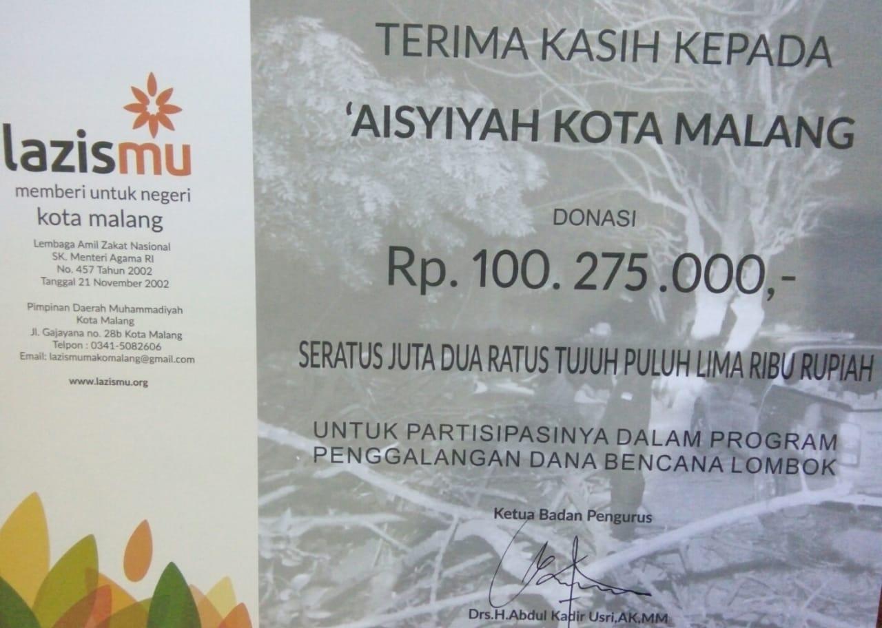 100 Juta rupiah dari 'Aisyiyah Kota Malang untuk Lombok